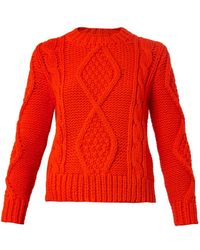 MM6 by Maison Martin Margiela Cable-Knit Cropped Sweater - Lyst