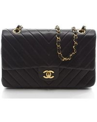 Chanel Preowned Black Lambskin Chevron Medium Double Flap Bag - Lyst
