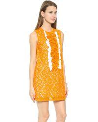 MSGM Sleeveless Lace Dress - Orange - Lyst