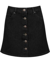 Miss selfridge Button-front Denim Skirt in Black | Lyst