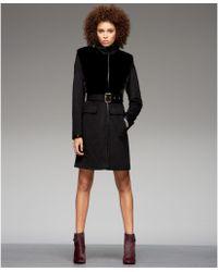 Vince Camuto Faux Leather Faux Fur Walker Coat - Lyst