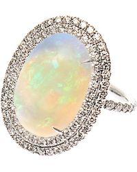 NSR Nina Runsdorf - Diamond, Opal & White-Gold Ring - Lyst