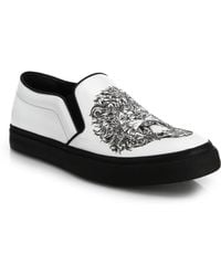 Alexander McQueen Lion & Skull Leather Slip-On Sneakers - Lyst