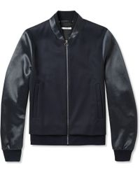 Paul Smith Satin-panelled Wool-twill Bomber Jacket - Lyst