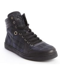 Gucci Blue and Black Plaid Canvas and Leather High Top Sneakers - Lyst