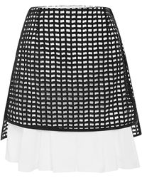 Peter Som Geometric Eyelet Skirt with Shirttail - Lyst