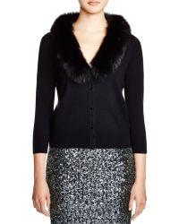 MILLY Fur Collar Cardigan - Black