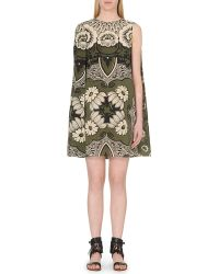 Valentino Floral-Print Silk-Crepe Dress - For Women - Lyst