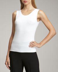Armani Sleeveless Stretch-Jersey Top - White (6) - Lyst