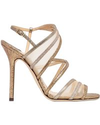 Jimmy Choo 110Mm Vigo Metallic Leather Sandals - Lyst