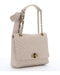 Lanvin Ivory Quilted Leather 'Happy' Medium Shoulder Bag - Lyst