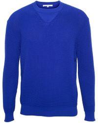 Carven Blue Ridged Sweatshirt - Lyst