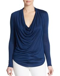 Helmut Lang Kinetic Cowlneck Jersey Top - Lyst