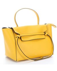 Celine Yellow Leather Belt Tote Bag - Lyst
