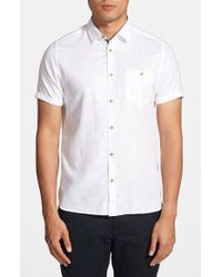 Ted Baker 'Linwizzz' Extra Trim Fit Short Sleeve Linen & Cotton Sport Shirt white - Lyst