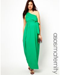 Asos Maternity Exclusive One Shoulder Maxi Dress - Lyst