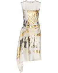 Reed Krakoff Asymmetric Foil-Print Silk Dress - Lyst