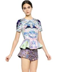Mary Katrantzou Rose Garden Printed Satin Top W/ Peplum - Lyst