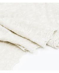 Zara Embroidered Linen Scarf - Lyst