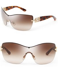 Versace Rock Icons Greca Metal Shield Sunglasses - Lyst