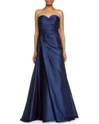 ML Monique Lhuillier Strapless Sweetheart Draped Ball Gown - Lyst