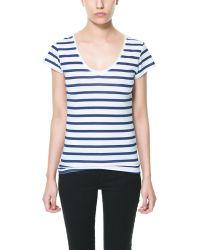 Zara Short Sleeved Floral T-Shirt - Lyst