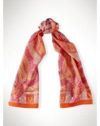 Ralph Lauren Silk Paisley Scarf orange - Lyst