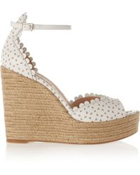 Tabitha Simmons Harp Perforated Leather Wedge Sandals - Lyst