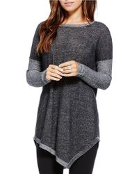 Two By Vince Camuto Asymmetrical Crewneck Top - Black