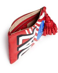 Anya Hindmarch Georgiana Daz Embossed Leather Tassel Zip Clutch - Lyst