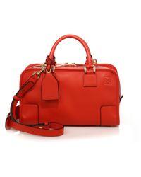 Loewe Amazona 28 Leather Satchel - Red