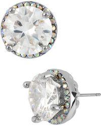 Betsey Johnson Round Crystal Stud Earrings - Metallic