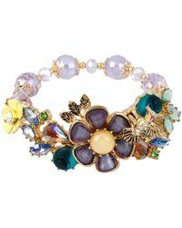 Betsey Johnson Mixed Multi-flower And Stone Bracelet - Multicolour