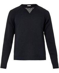 Saint Laurent Contrast-panel Cotton-blend Sweater - Lyst
