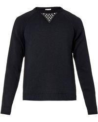 Saint Laurent Contrast-Panel Cotton-Blend Sweater black - Lyst