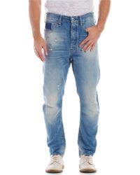 G-star Raw Medium Wash Destroyed Straight Leg Jeans - Lyst