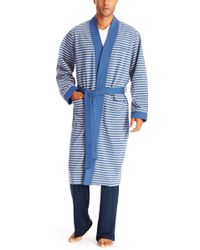 Hugo Boss Kimono  Cotton Blend Striped Robe - Lyst
