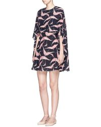 Valentino | Bird Print Open Back Silk Cape Dress | Lyst