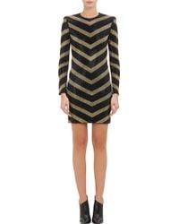 Balmain Embellished Chevron Dress - Lyst