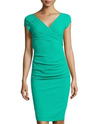 BCBGMAXAZRIA Pleated Ruched Capsleeve Dress - Lyst