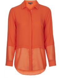 Topshop Womens Sheer Panel Hem Shirt  Orange - Lyst
