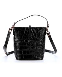 Treesje Black Croc Embossed Leather Small 'Candice' Bucket Bag - Lyst