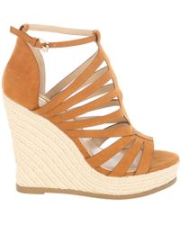 Jane Norman | Tan Faux Suede Cage Wedged Heels | Lyst