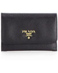 Prada Saffiano Credit Card Case - Lyst