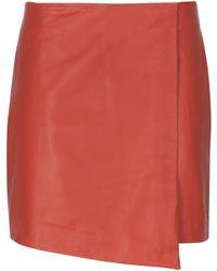 Stefanel Leather Skirt - Lyst