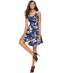 Inc International Concepts Petite Floral-Print Flared Scuba Dress - Lyst