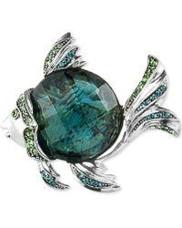 Jones New York - Silver-Tone Epoxy Stone And Crystal Fish Pin - Lyst