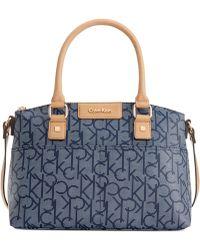 Calvin Klein Hudson Ck Monogram Satchel blue - Lyst