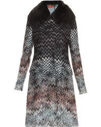 Missoni Zig Zag Coat with Fox Fur Collar - Lyst