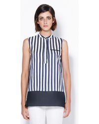 3.1 Phillip Lim Collarless Sleeveless Blouse With Organza Hem - Lyst